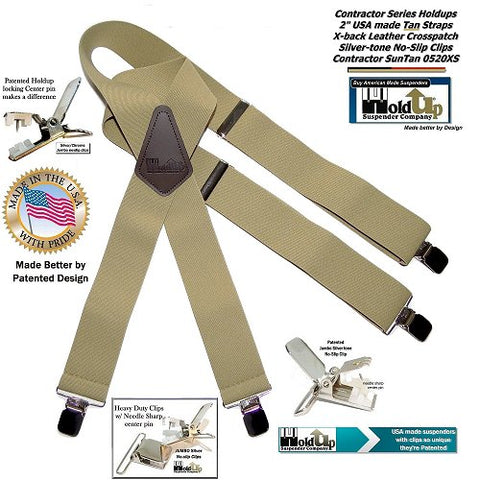 USA made Sun Tan light beige wide work Holdup Brand Suspenders with patented silver-tone jumbo no-slip clips
