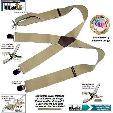 Sun Tan light beige wide work Holdup Brand Suspenders made in the USA with patented jumbo no-slip clips