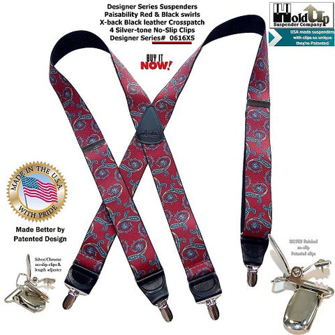 Beautiful red and blue with gold paisley swirls on a USA made black elastic  pattern strap makes these X-back styled Designer Series suspenders look great