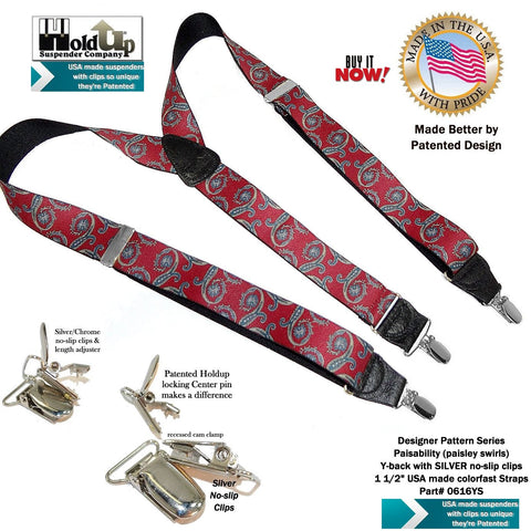 Beautiful red, blue, gold on black paisley swirl pattern trademarked Holdup Y-back suspender
