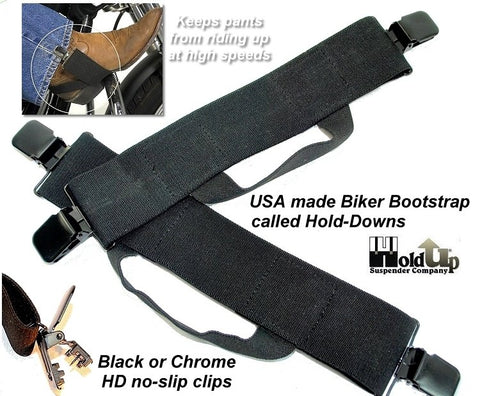 Hold-Ups Biker Stirrups or Boot Straps w/ Patented Black No-slip Jumbo Clips