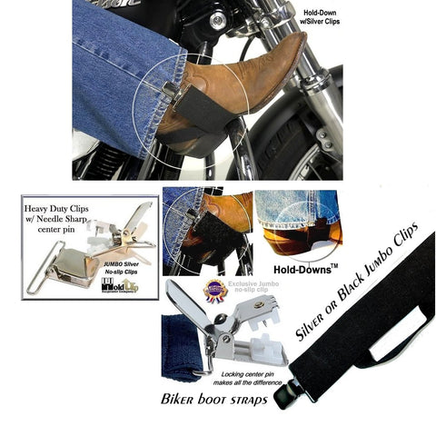 Holdup Biker Bootstraps with jumbo no-slip clips are made in the USA