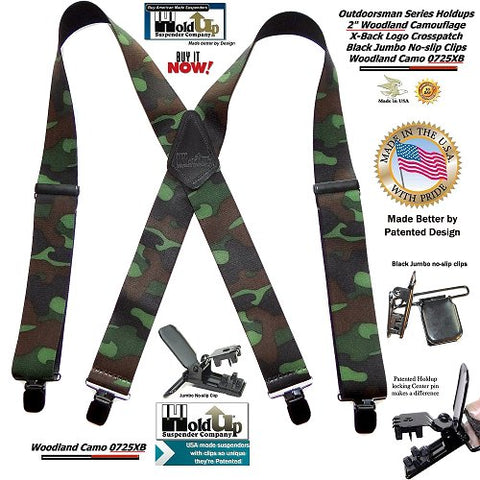 American made heavy duty woodland pattern camouflage X-back Holdup Suspenders with patented black no-slip jumbo clips