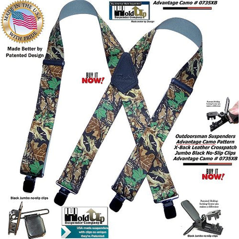 USA made Holdup Hunting X-back Suspenders in trademarked Advantage camouflage pattern