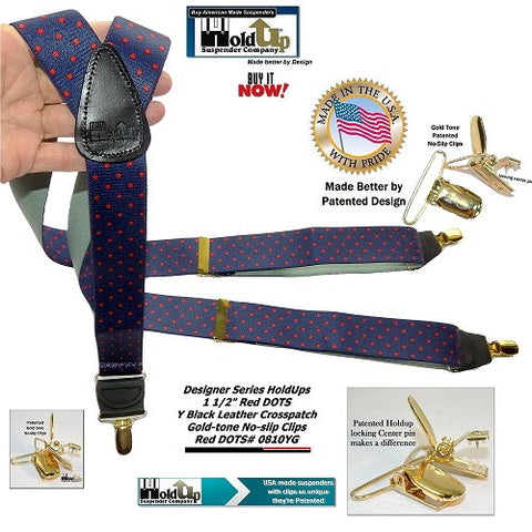 "Navy blue with red polka dot pattern Holdup Suspenders with 1 1/2"" wide straps and gold-tone no-slip clips and they're made in the USA"