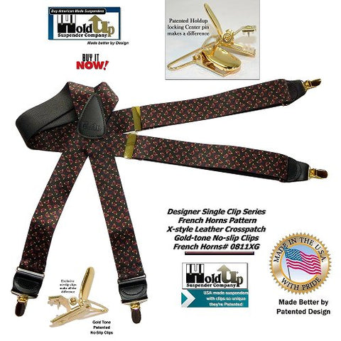 "HoldUp Suspender Company's  French Horn Pattern 1 1/2"" wide Suspenders in X-back style and Patented No-slip Gold-tone Clips"