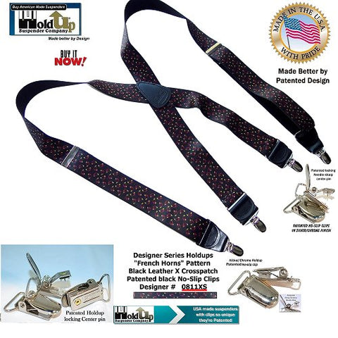 Holdup Suspender Company presents the French Horn Pattern X-back Suspenders with Patented No-slip silver tone Clips