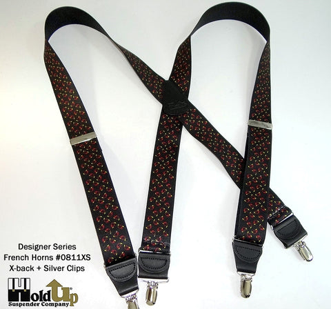 Designer Series Holdup Suspenders in X-back French Horns pattern with silver no-slip clips