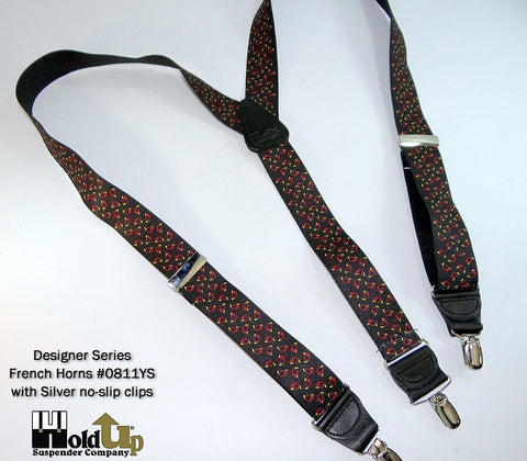 French Horn designer pattern pant suspenders in  Y-back style and silver tone patented no-slip clips