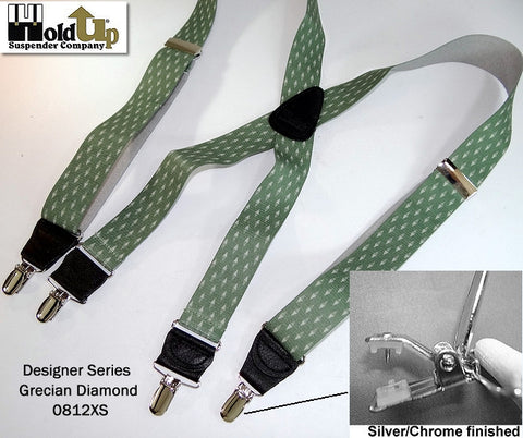 Designer Series GRECIAN DIAMOND pattern suspenders feature our patented No-slip suspender clips in nickel chrome metal finish.