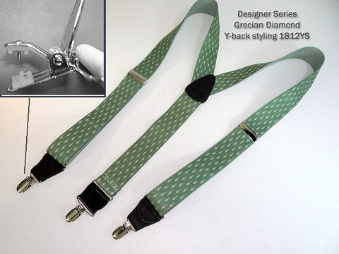 "Grecian Diamond pattern on USA made elastic 1 3/8"" wide straps set these Holdup brand men's designer pattern suspenders apart from the competition."