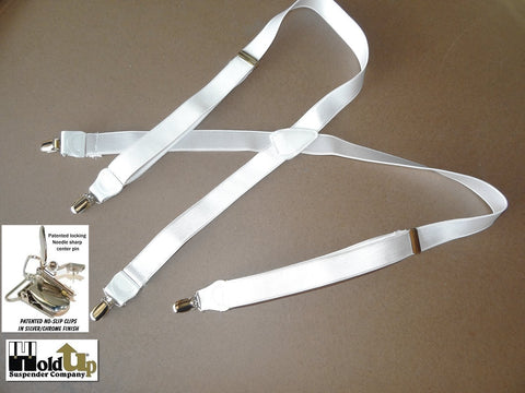 Satin Finished USA made white Formal Series Holdup suspenders with silver patented no-slip clips and white leather trim