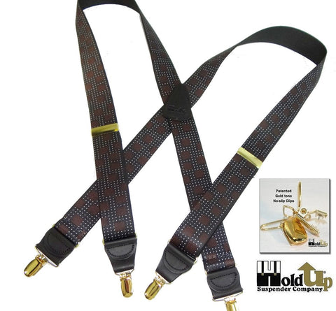 Designer Series Holdup Suspenders in  the beautiful City Lights Pattern of bronze,Grays and brown squares in X-back Gold tone no-slip clip style