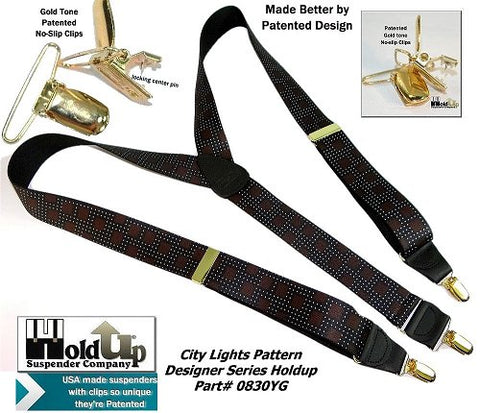 Designer Series Holdup Y-back City Lights pattern clip-on suspenders