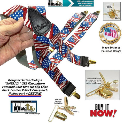 Designer Series Holdup USA American Flag pattern suspenders in X-back style choice with gold-tone no-slip clips and sold and manufacturered by the Holdup Suspender Company in Southfield Michigan.