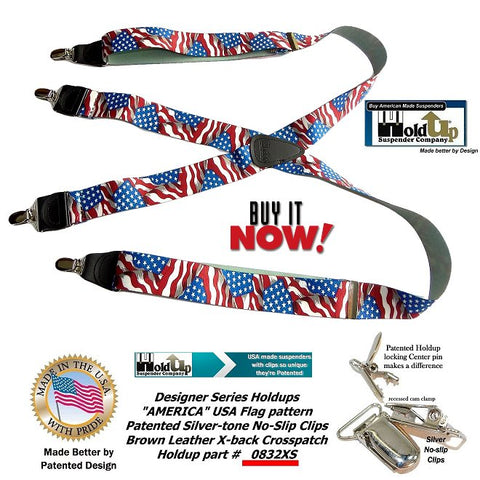 Holdup Brand America Flag Pattern Designer series X-back Suspenders with Patented No-slip Silver-tone Clips
