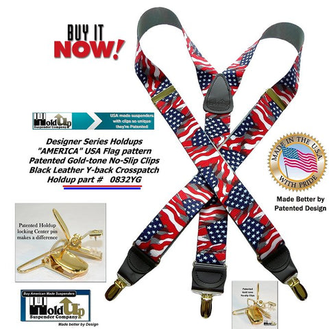 Holdup Designer Series Y-back suspender in America Flag patytern with gold-tone patented no-slip clips