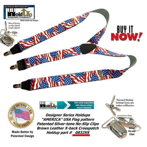 Designer Series Holdup Brand USA America Flag pattern Y-back suspender with our patented silver chrome no-slip center pin type clips