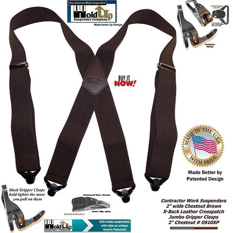 dark Chestnut brown 2x4 Contractor series Holdup work suspenders with patented Gripper Clasps