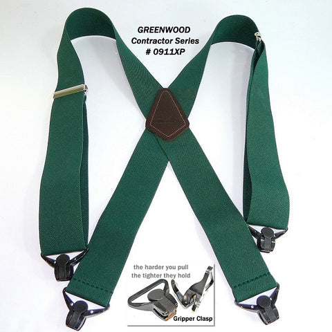 "Dark Forest Green 2"" wide work suspenders with patented Jumbo Gripper Clasps by Holdup Suspender Company"
