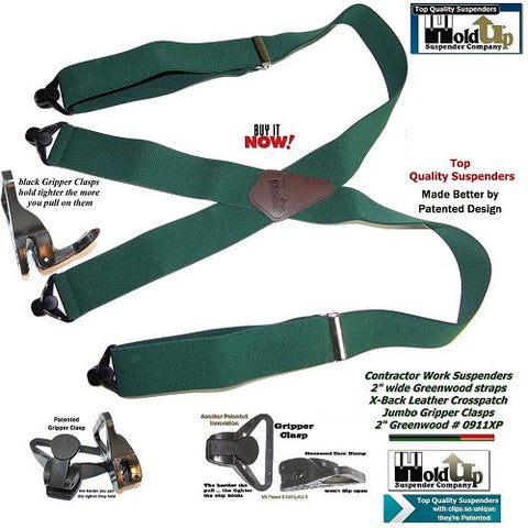 Dark Green Holdup Contractor Series X-back Suspenders with patented jumbo Gripper Clasps