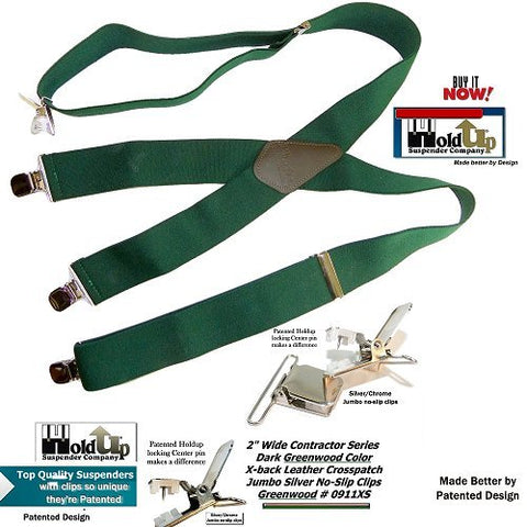 Holdup Contractor 2inch wide X-back work suspenders in Dark Green color with patented No-slip clips