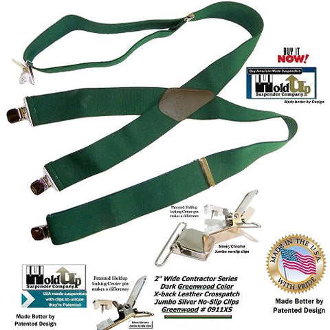 USA made Holdup brand Heavy Duty Greenwood Green Work Suspenders in X-back style with patented No-slip center pin clips