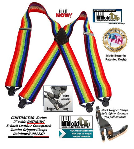 "Holdup Contractor Series 2"" wide Rainbow colored X-back suspender with black jumbo Gripper Clasps are made in the USA."