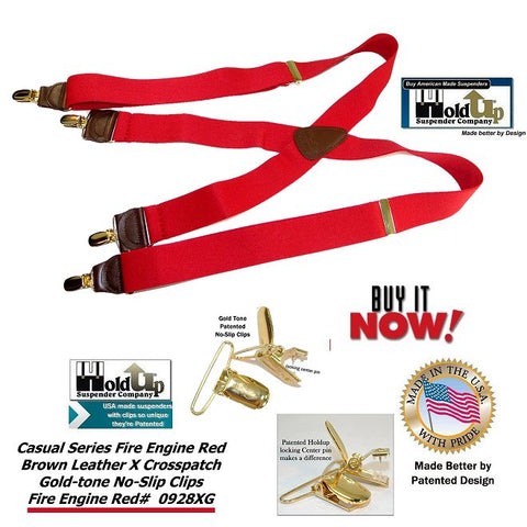 Fire Engine Red Casual Series Holdup X-back suspenders with patented gold-tone no-slip center pin clips