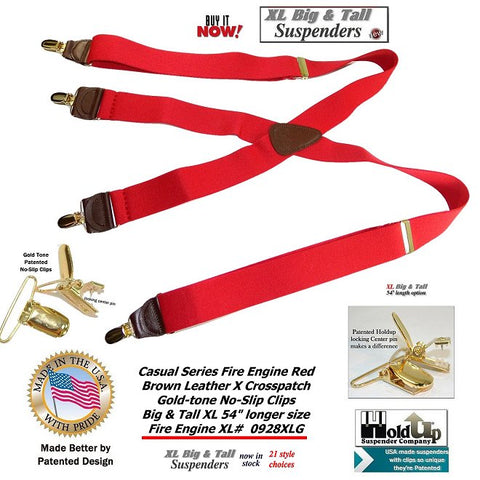Holdup Brand Fire Engine Red X-back suspenders extra long for the big and tall man