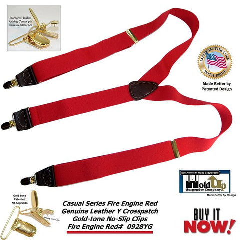 Bright Red Y-back USA made Holdup men's clip-on suspenders have exclusive center pin Patented no-slip clips