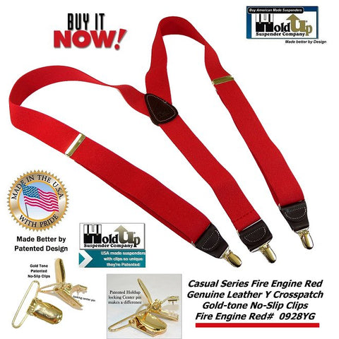 Bright Fire Engine Red Casual Series Y-back suspnders with patented gold-tone no-slip clips