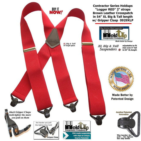 XL Logger RED Holdup X-back Suspenders with Patented Gripper Clasps are made in the USA