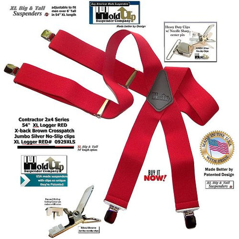 2x4 Contractor series Holdup Logger Red work X-back suspenders in Big and Tall XL length
