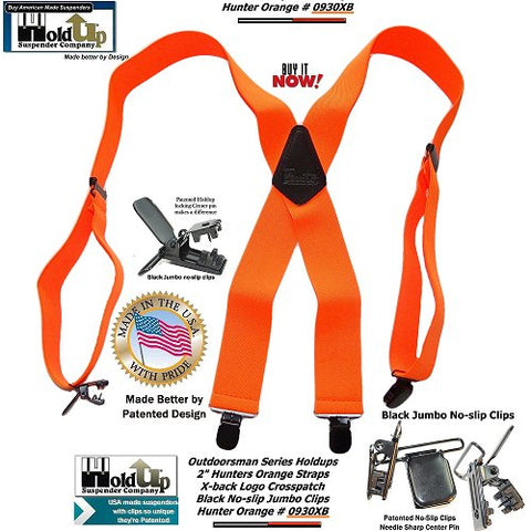 Holdup Outdoorsman Series Bright Orange X-back Suspenders with Black Jumbo No-slip Clips