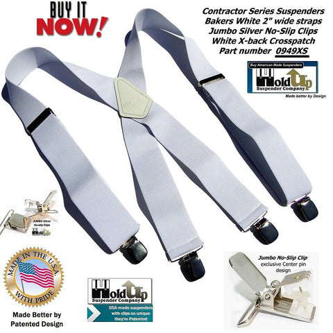 Bakers White Contractor Series wide Holdup work suspenders in X-back style with patented jumbo no-slip clips