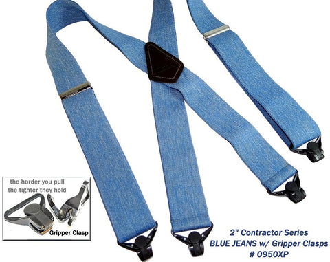 Light Blue Denim color Holdup wide work suspenders with patented jumbo Gripper clasps for the working man.