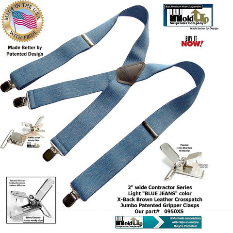 Contractor Series Blue Jean Denim Color X-Back Suspenders With Silver/Tone No Slip Jumbo Clips