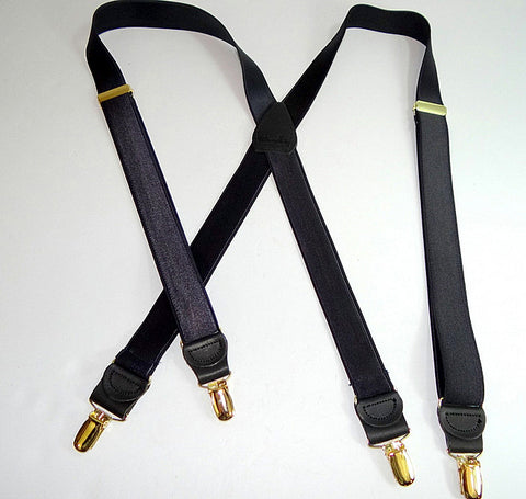 Patented No-slip® suspender clip in gold tone on these narow formal satin black Holdup formal series suspenders