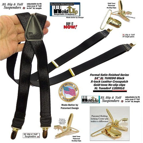 "HoldUp Brand XL Tuxedo Black Suspenders with Satin Finish 1"" Wide straps and Patented No-slip Gold Clips and they're made in the USA."