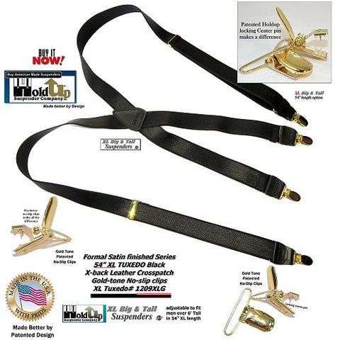 Big and Tall man's narrow satin finished Tuxedo Black Holdup Suspenders with patented no-slip gold-tone clips.