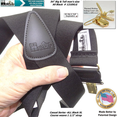 deluxe all black office suspenders for the big and tall man have black top grade leather X-back crosspatch embossed with trademarked HOLD-UP brand logo
