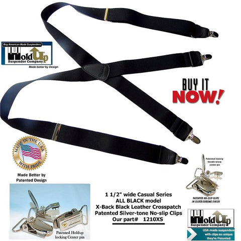 Holdup Suspender Company introduces the ALL BLACK X-back suspender which are made in the USA with silver no-slip clips