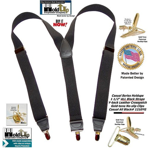 Holdup USA made all black Y-back men's clip-on suspenders with gold-tone patented no-slip center pin type clips
