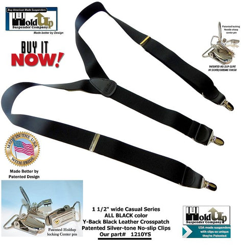 Casual Series ALL Black Holdup suspenders in popular Y-back style with silver no-slip clips