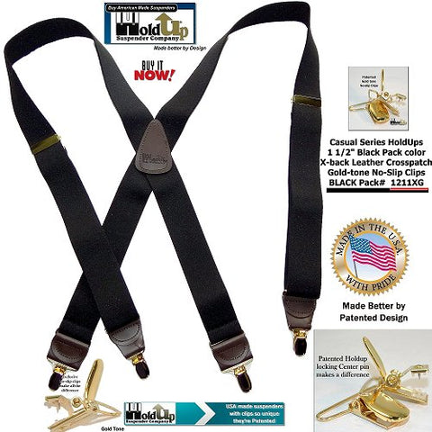 Holdup Suspenders Black Pack color with Brown leather crosspatch and brown leather tapered clip holders with Gold tone no-slip Patented suspender clips