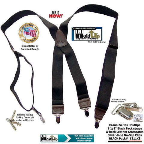 Casual Series Blackpack black Holdup Suspenders with X-back brown leather crosspatch and silver no-slip clip options