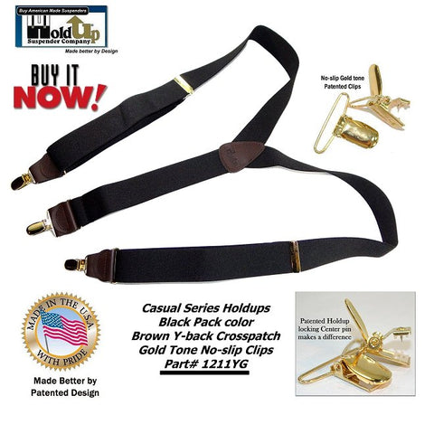 Y-back Casual Series Black clip-on Holdup suspenders with Brown Leather Logo embossed crosspatch