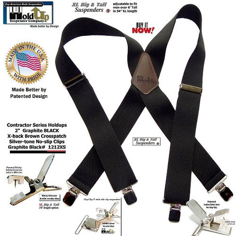Black XL wide work Suspenders made better in the USA by Holdup Suspender Company