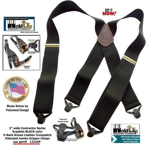 "Black 2"" wide elastic hand washable straps and X-back style genuine brown leather crosspatch"